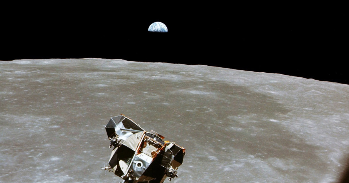 With a half-Earth in the background, the Lunar Module ascent stage with Moon-walking Astronauts Neil Armstrong and Edwin Aldrin Jr. approaches for a rendezvous with the Apollo Command Module manned by Michael Collins.</p>