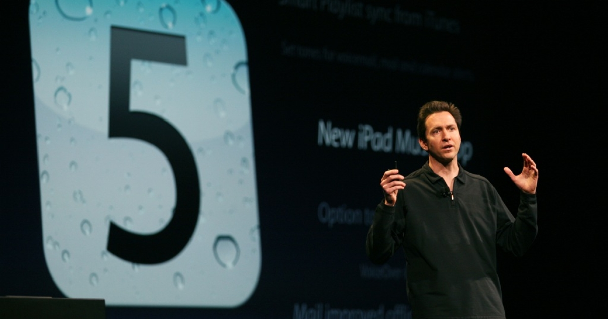 Apple Senior VP of iPhone Software Scott Forstall announces the new iOS5 as he speaks during the keynote address at the 2011 Apple World Wide Developers Conference at the Moscone Center on June 6, 2011 in San Francisco, California.</p>