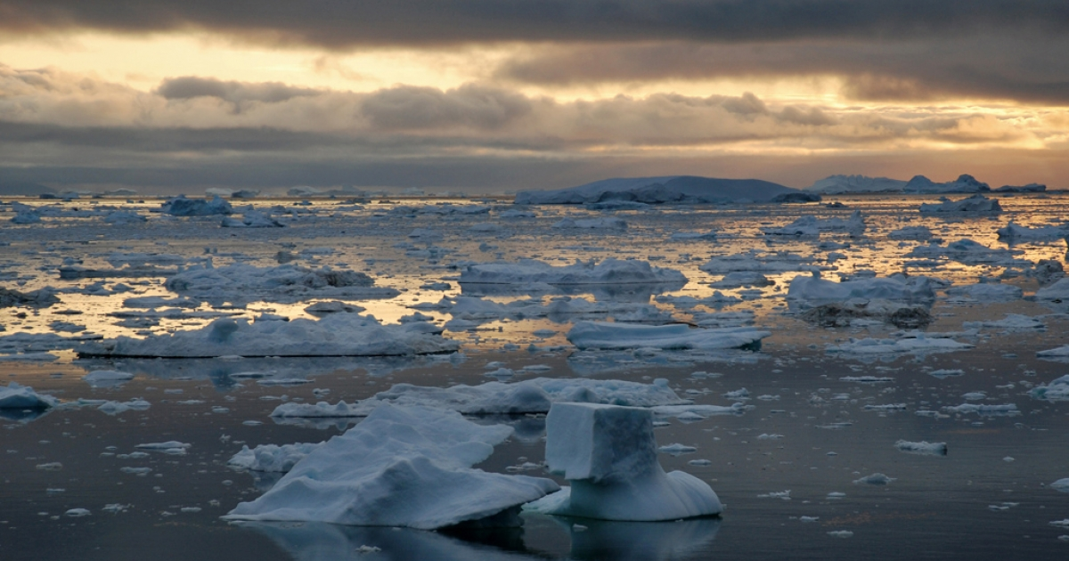 Ice Fjord of Ilulissat in Greenland. Some experts believe the Arctic ice cap will disappear completely in 20 to 30 years.</p>
