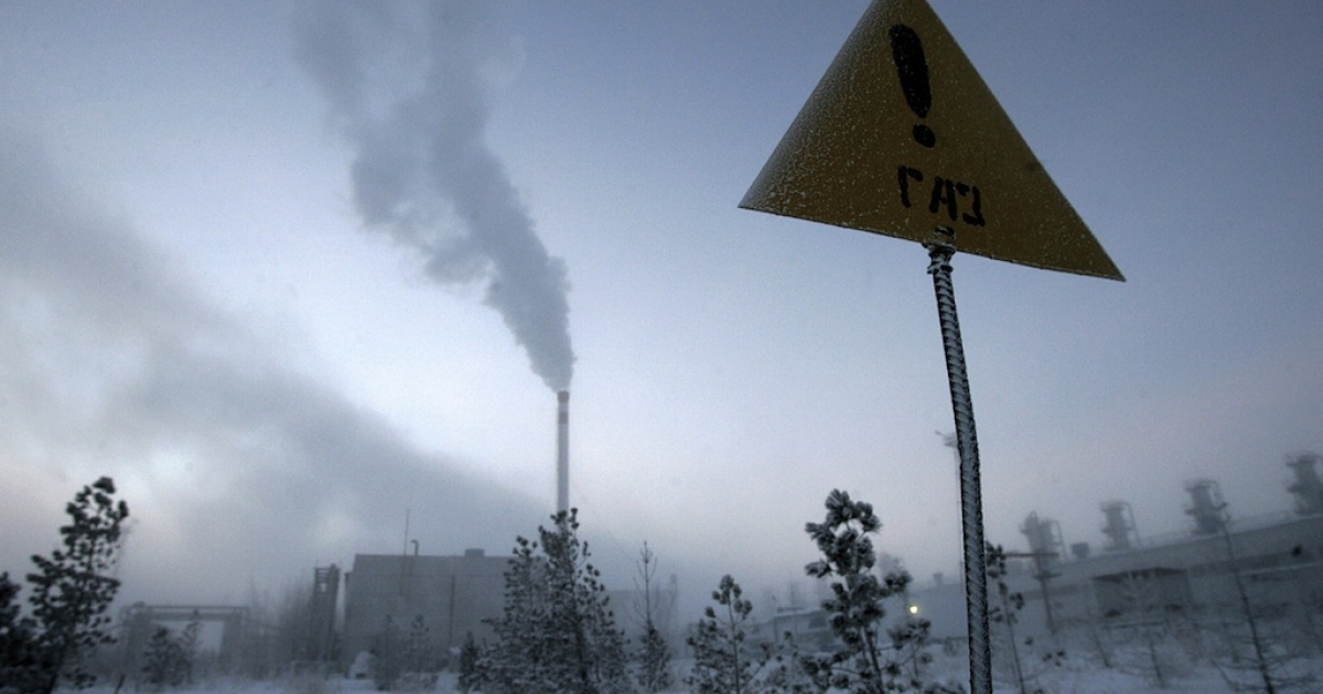 A sign reads: 'Gas!' in - 40 degree celcius weather in Novy Urengoi, just below the arctic circle, in far northern Russia. Along with Russia, the US, Norway, Finland, Greenland, Canada and Iceland are members of the Arctic Council, and in the coming years will decide what happens to our last untouched and valuable resource.</p>