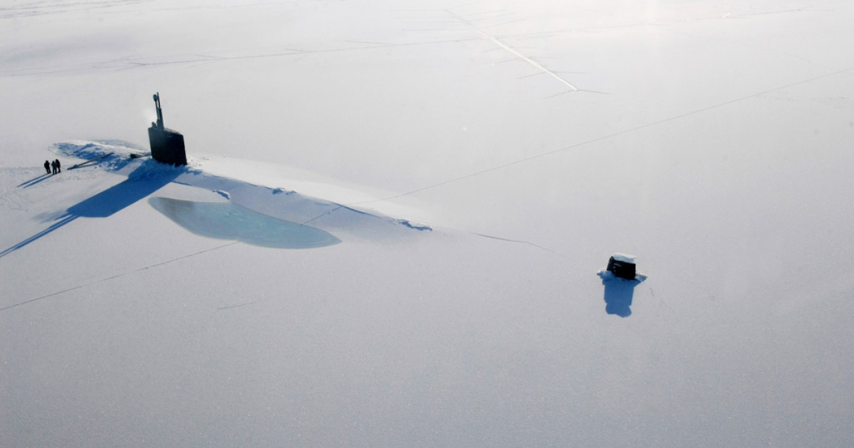 The USS Annapolis rests on the Arctic Ocean after breaking through three feet of ice. There is currently a freshwater bulge building in the Arctic Ocean, a new study has found.</p>
