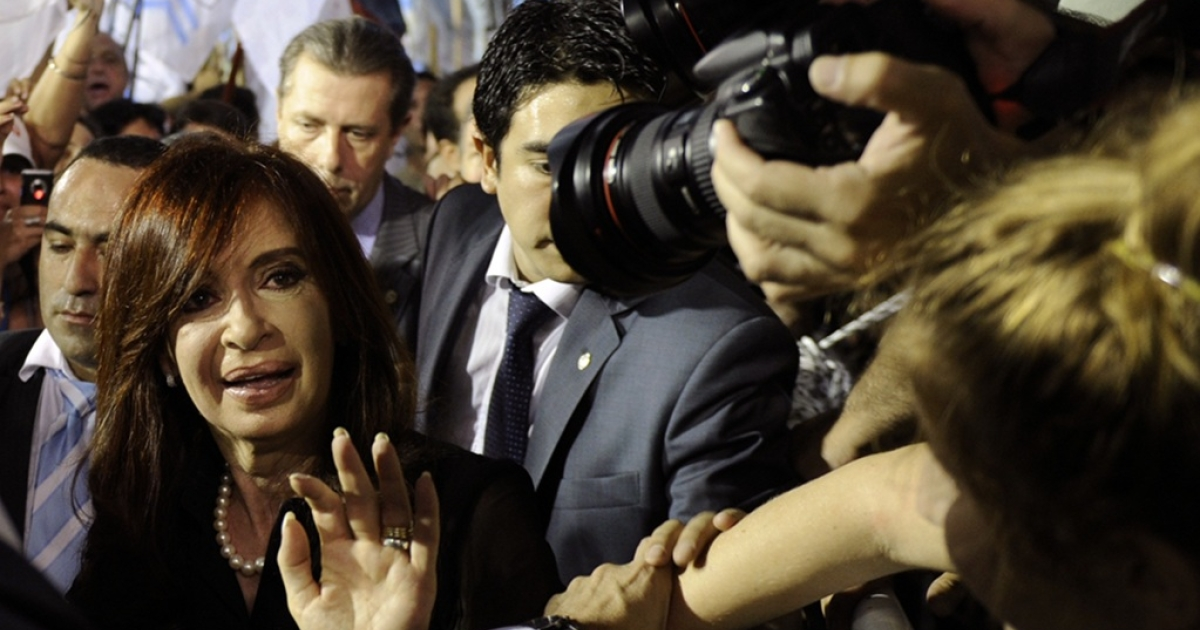 Argentine President Cristina Kirchner greets supporters during a political rally at Huracan stadium in Buenos Aires on March 11, 2010 where almost 20,000 supporters supported her reelection in the upcoming elections.</p>