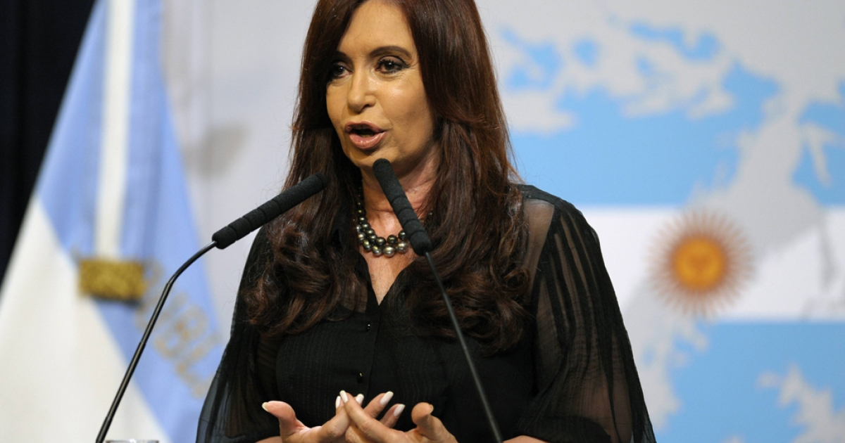 Argentine President Cristina Fernandez de Kirchner delivers a speech in front of a backdrop displaying the Falkland Islands (Malvinas in Spanish) painted like the Argentine national flag at the Government Palace in Buenos Aires on February 7, 2012. Fernandez de Kirchner announced that her government will present a protest to the United Nations due to the