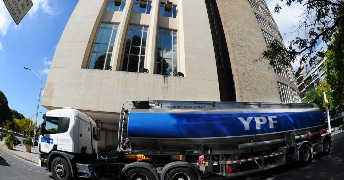 A truck carrying gasoline in downtown Buenos Aires on April 17, a day after Argentine President Cristina Fernandez de Kirchner announced YPF oil company, controlled by Spain's Repsol, would be expropriated.</p>