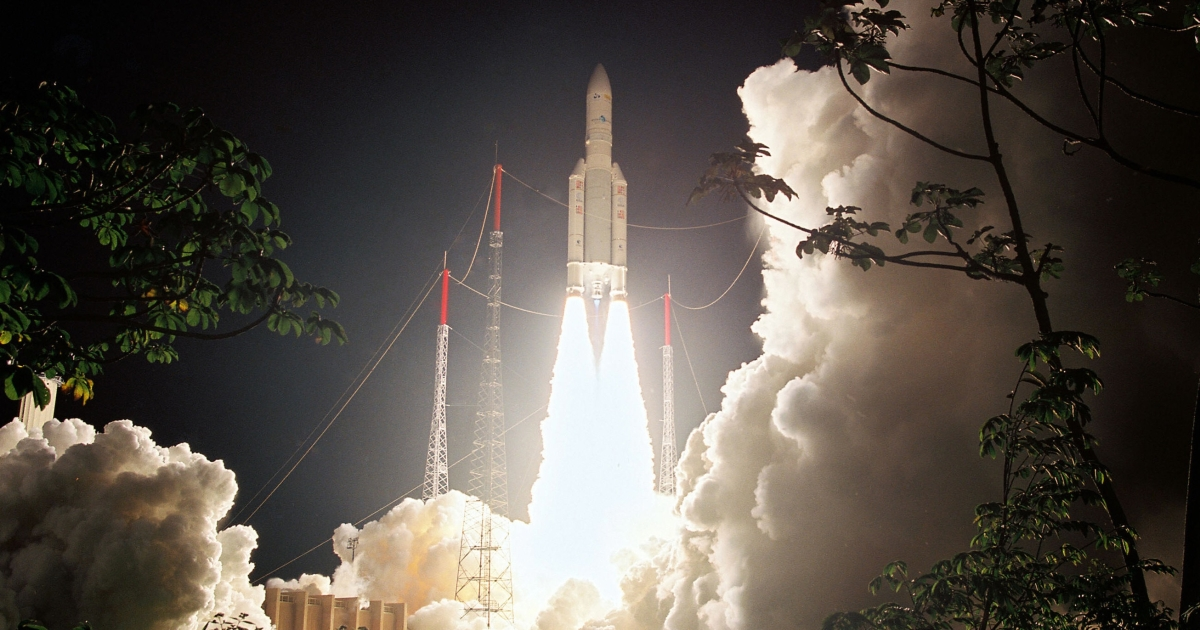 ESA's Ariane 5 rocket launches from French Guyana.</p>