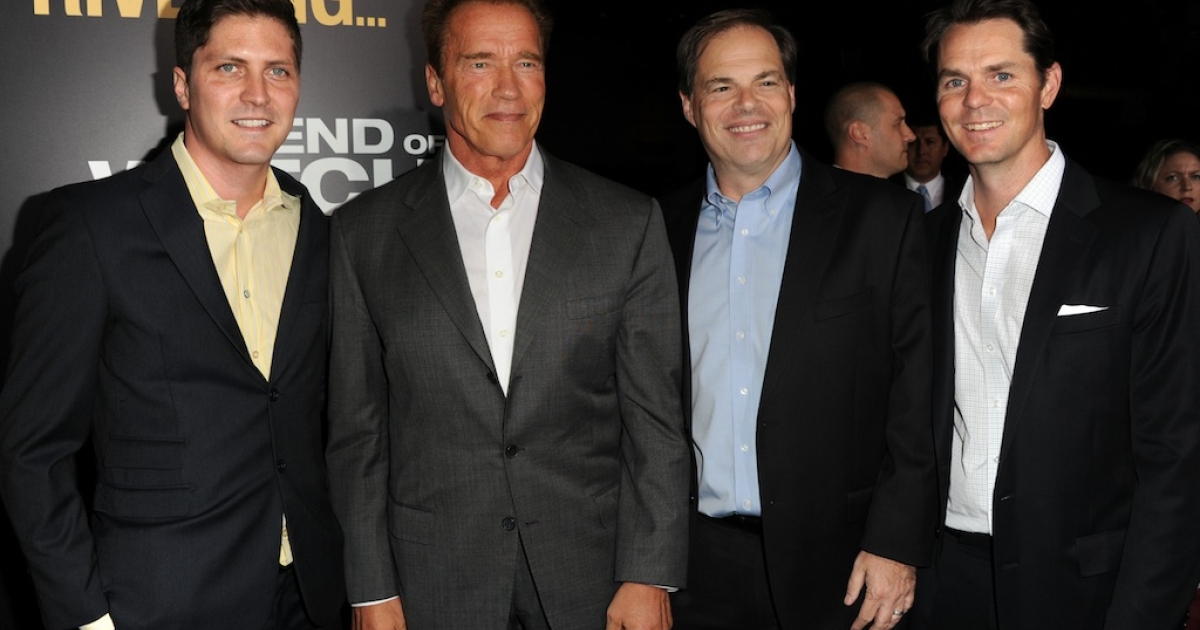 Open Road Films Senior VP of Acquisitions Ben Cotner, Arnold Schwarzenegger, CEO of Open Road Films Tom Ortenberg and President of Marketing at Open Road Films Jason Cassidy arrives at the premiere of Open Road Films' 'End of Watch' at Regal Cinemas L.A. Live on September 17, 2012 in Los Angeles, California.</p>