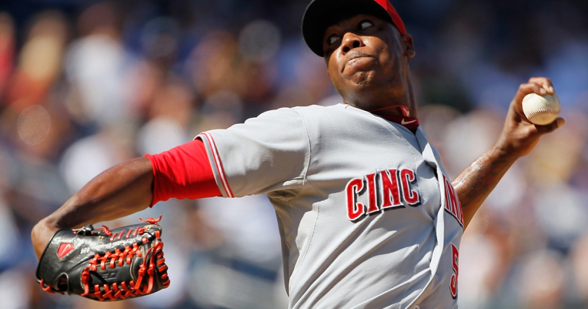 Aroldis Chapman, #54 of the Cincinnati Reds, piches against the New York Yankees at Yankee Stadium on May 19 , 2012 in the Bronx borough of New York City. Chapman was arrested Monday morning for speeding with a suspended license.</p>