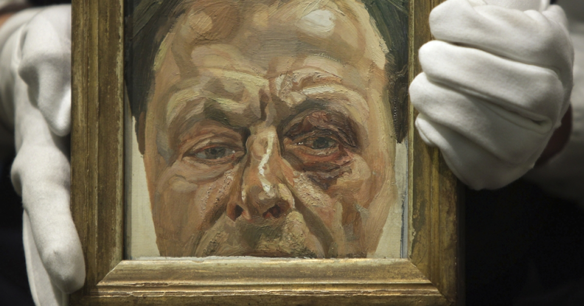 Lucian Freud's 'Self-Portrait with a Black Eye' from 1979 is displayed at Sotheby's on January 27, 2010 in London, England. Lucian Freud died at the age of 88 at his London home, it was reported on July 21, 2011.</p>