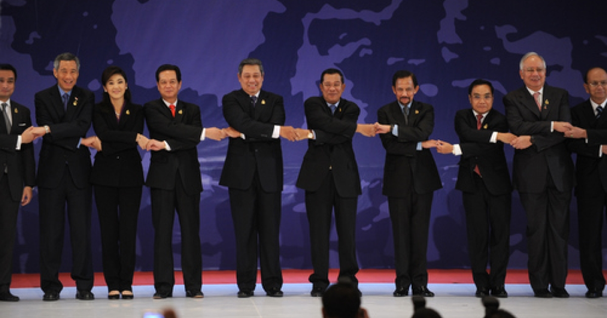 Believe it or not, this is serious business.  Shown here linking hands for a publicity shot during the opening of the 19th summit of the Association of South East Asian Nations (ASEAN), the leaders and representatives of ASEAN may be poised to take on greater importance as Obama reboots America's Asian agenda.</p>