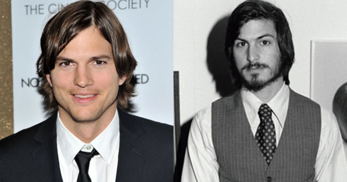 Ashton Kutcher, by Stephen Lovekin/Getty Images; and Steve Jobs in 1977 by Tom Munnecke/Getty Images.</p>