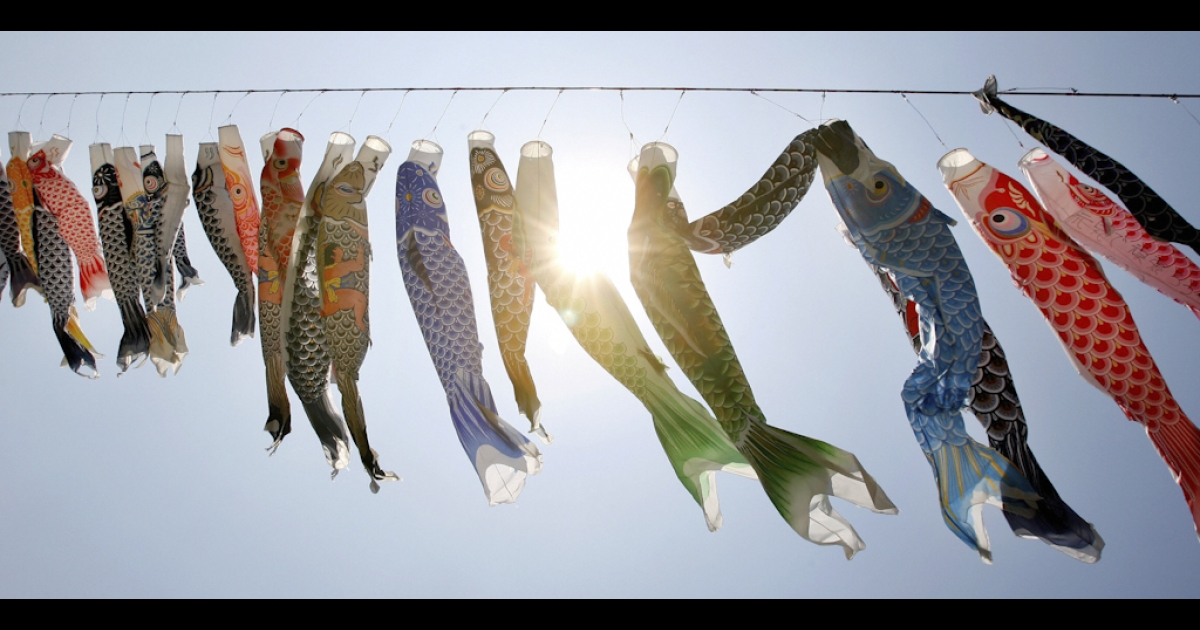 Colorful carp streamers are displayed at a park in Sagamihara, suburban Tokyo.</p>
