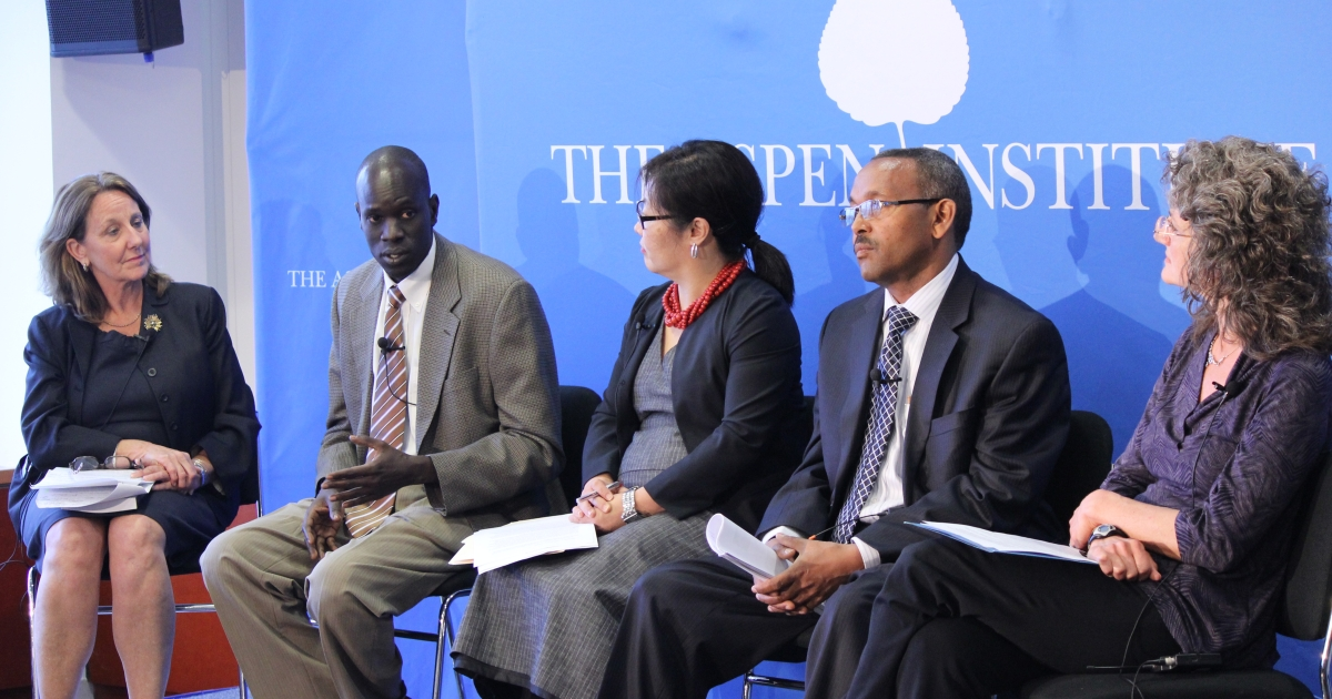 "Salva Dut, founder and president of Water for South Sudan, speaks to the audience at a discussion called ""7 Billion: Conversations That Matter"" hosted by the Aspen Institute's Global Health and Development in Washington, DC on April 18, 2012.</p>"