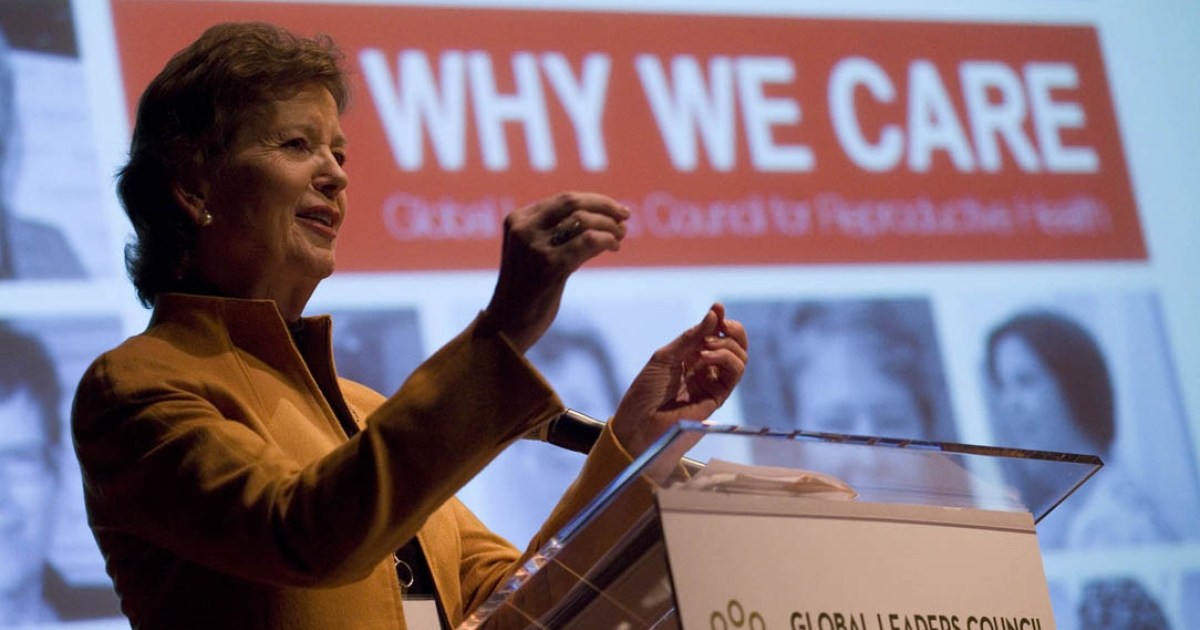 The Honorable Mary Robinson gives opening remarks at the global leaders council for reproductive health in New York, NY.</p>
