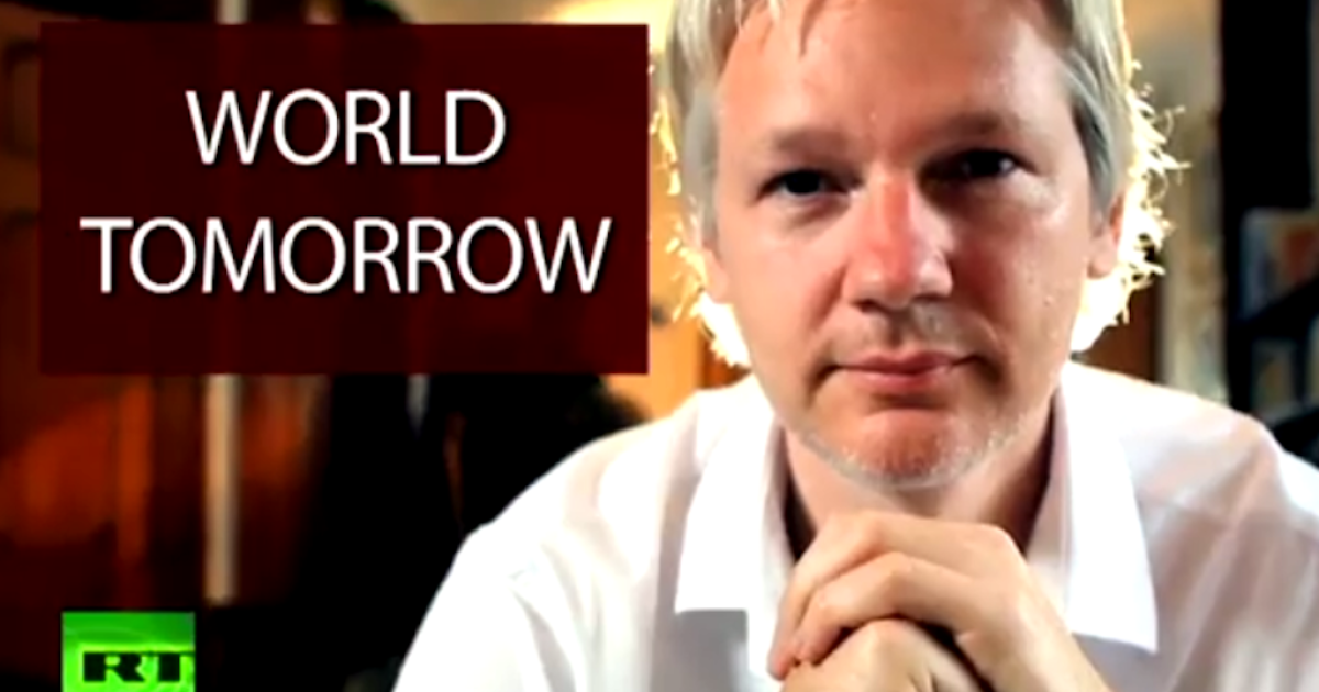 A screen shot of the opening credits of Julian Assange's new show, The World Tomorrow.</p>