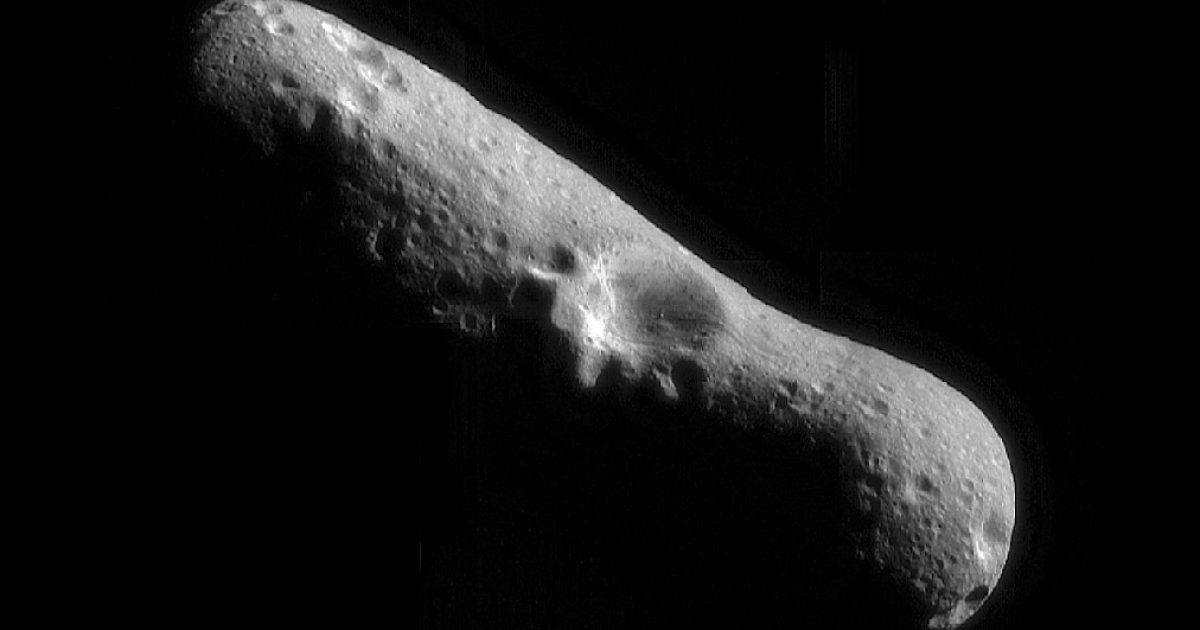 A mosaic image of asteroid Eros at it's north pole, taken by the robotic NEAR Shoemaker space probe on February 14, 2000 immediately after the spacecraft's insertion into orbit.</p>