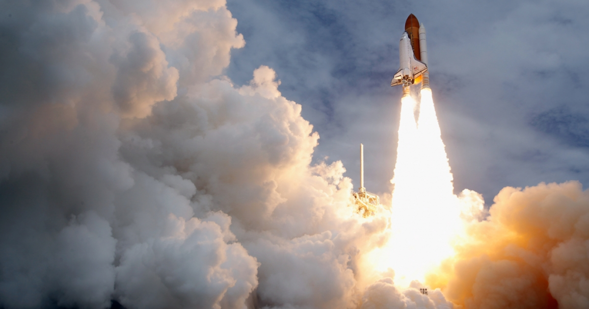 Space shuttle Atlantis blasts off from launch pad 39A at Kennedy Space Center July 8, 2011 in Cape Canaveral, Florida. This lift off is the last in the 30-year-old shuttle program.</p>