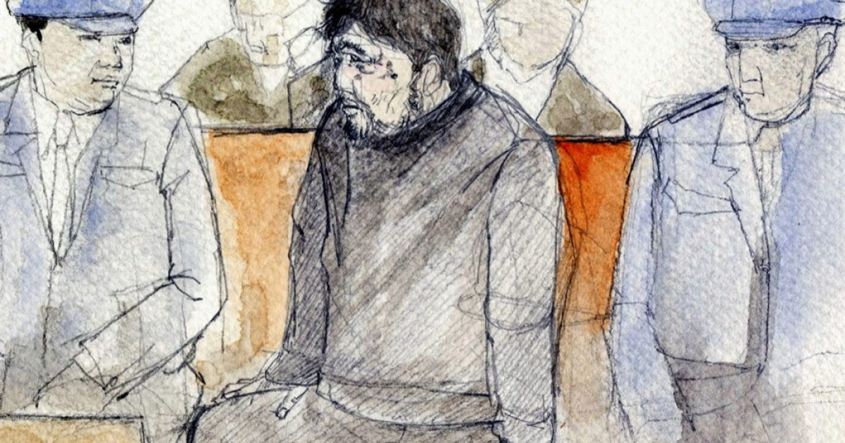 An illustration by Naoto Miyanaga shows Shoko Asahara (centre R) sitting in a courtroom of the Tokyo District Court 27 February 2004. Doomsday cult Aum Supreme Truth leader Asahara was sentenced to death after being found guilty of plotting the deadly 1995 Tokyo subway Sarin gas attack and a series of crimes that claimed 27 lives.</p>
