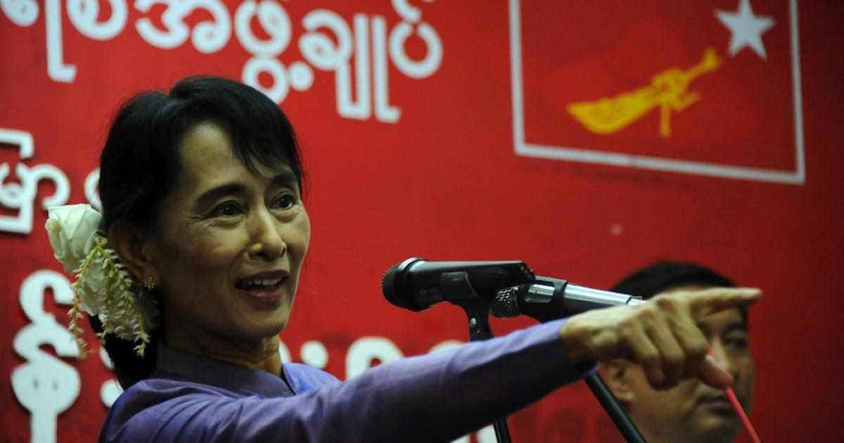 Burmese democracy icon Aung San Suu Kyi delivers a speech during a ceremony to mark her father General Aung San's 96th birth anniversary at the National League for Democracy (NLD) headquarters in Rangoon, Burma, on February 13, 2011.</p>