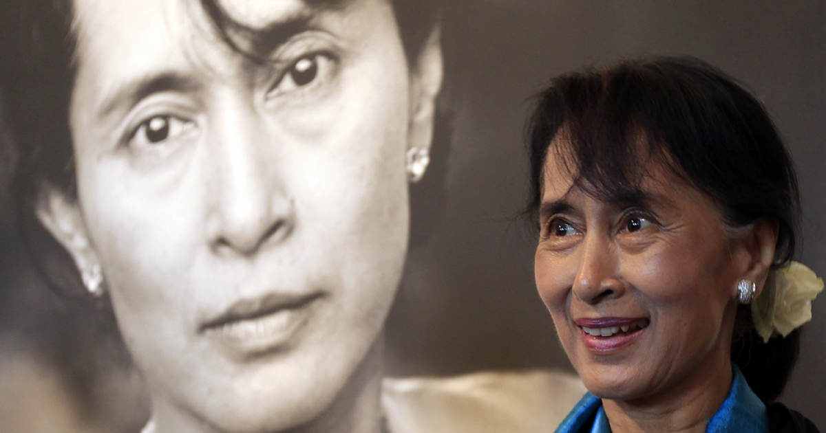 Myanmar democracy icon Aung San Suu Kyi tours the Nobel Peace center in Oslo on June 16, 2012. Suu Kyi on June 16 pledged to keep up her struggle for democracy as she finally delivered her Nobel Peace Prize speech, 21 years after winning the award while under house arrest.</p>