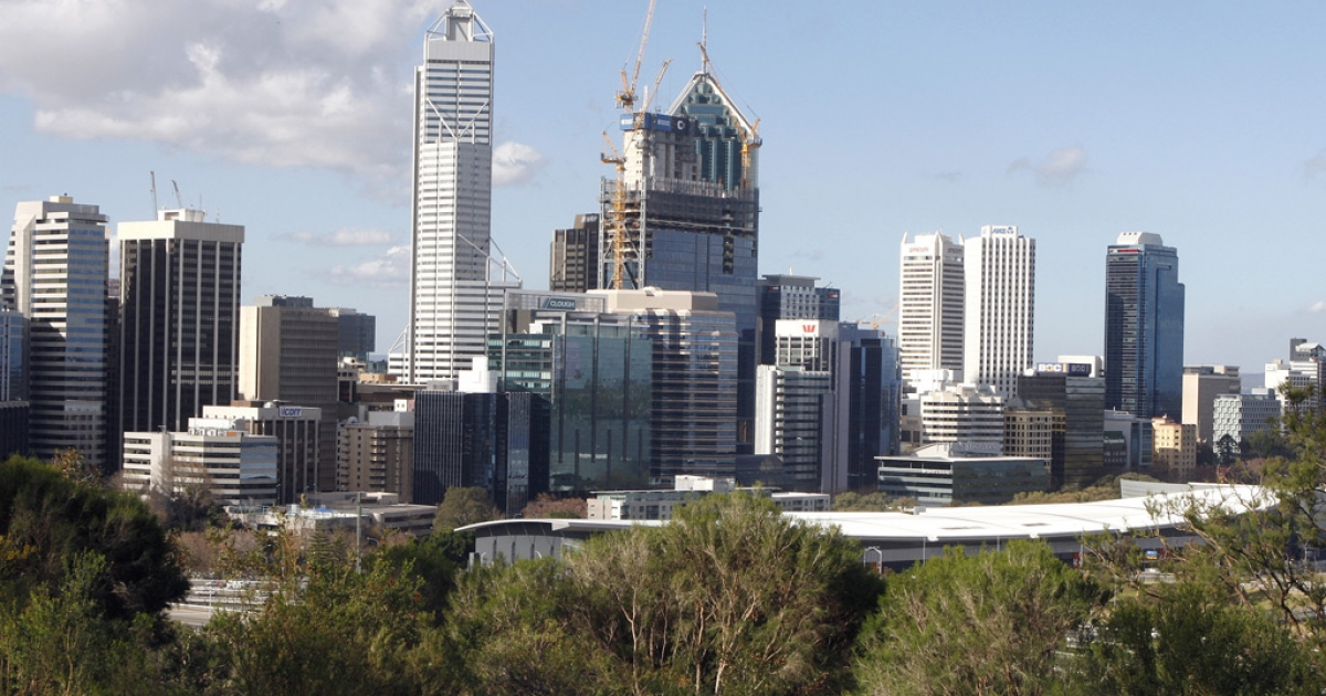 A photo taken on August 5, 2010 shows the Perth's central business district skyline viewed from King's Park. A teacher has been suspended in Northam, near Perth, for allegedly tying up a five-year-old boy.</p>