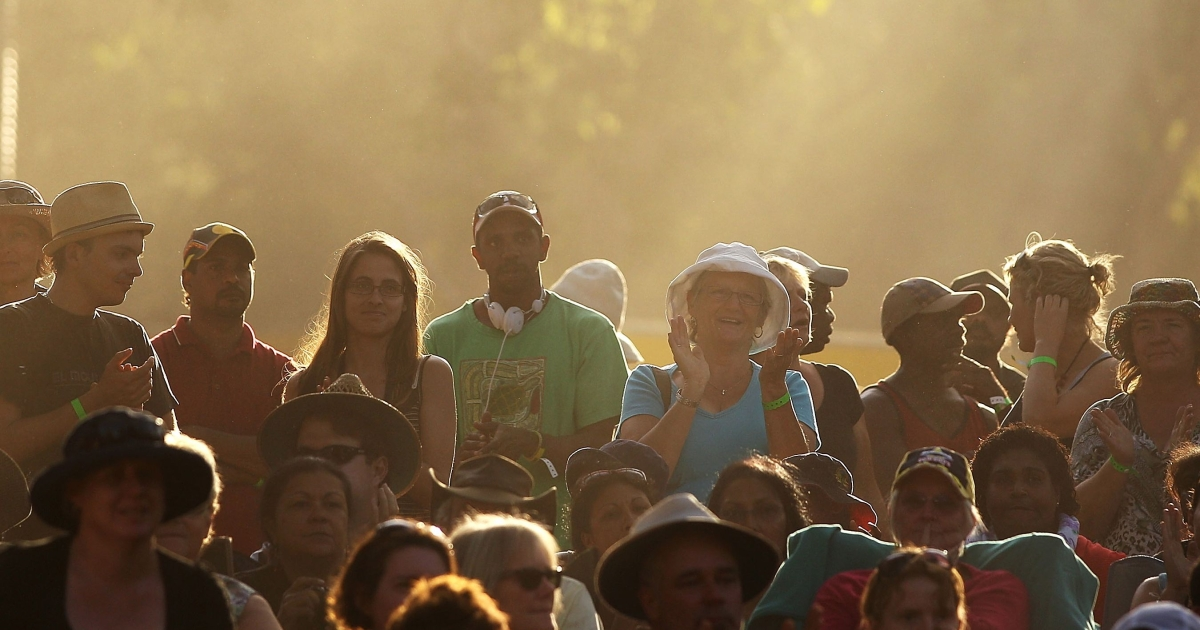 An Australian crowd at the Laura Aboriginal Dance Festival on June 18, 2011 in Laura, Australia.</p>