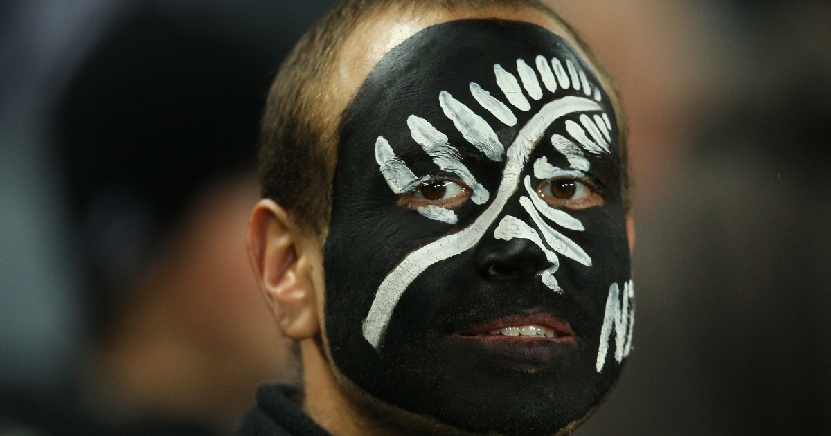 An All Blacks fan enjoys the atmosphere during the Tri-Nations Bledisloe Cup match between the New Zealand All Blacks and the Australian Wallabies at Eden Park on Aug. 6, 2011 in Auckland, New Zealand.</p>