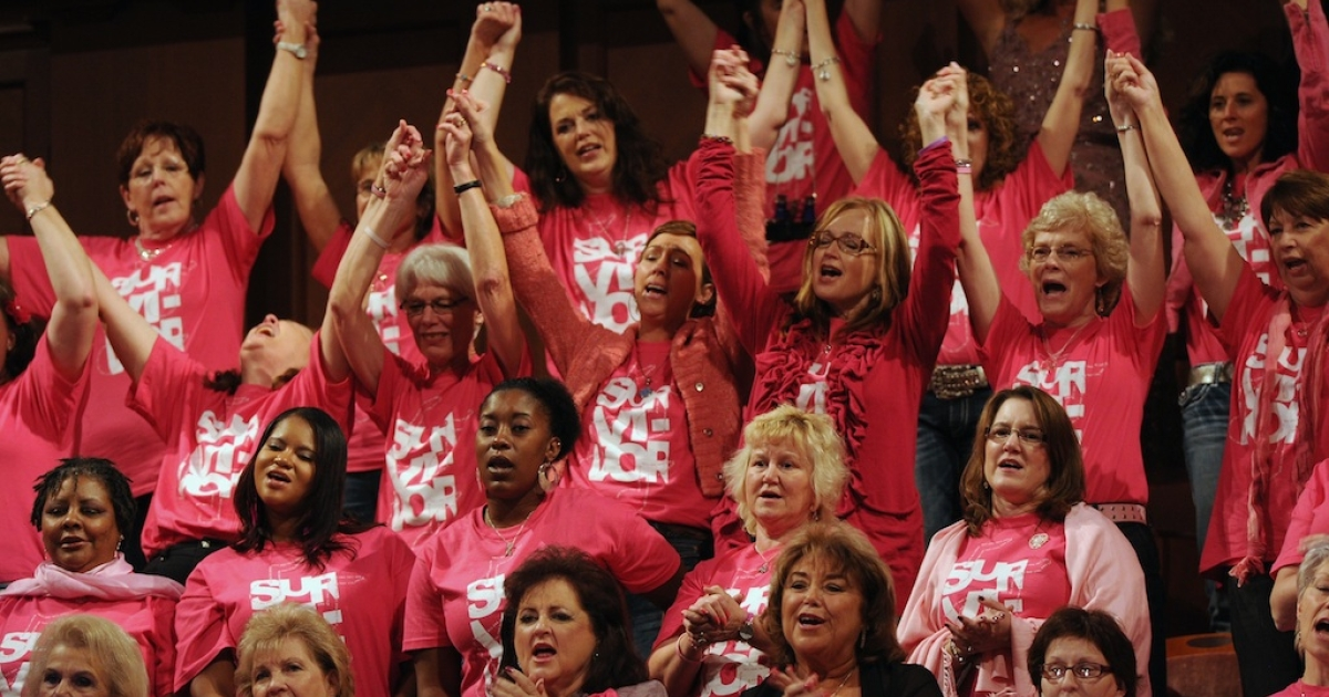 Breast Cancer Survivors celebrate at The 17th Annual Inspirational Country Music Awards at Schermerhorn Symphony Center.</p>
