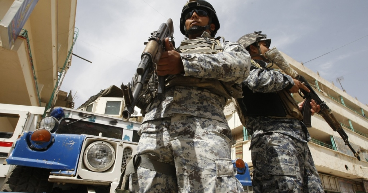 Hightened security is seen on the streets of the Iraqi capital Baghdad on May 8, 2011, after the accused mastermind of last year's Baghdad church siege overpowered a policeman while being led to questioning, sparking a jail mutiny that killed six police, including a general, and 11 inmates.</p>