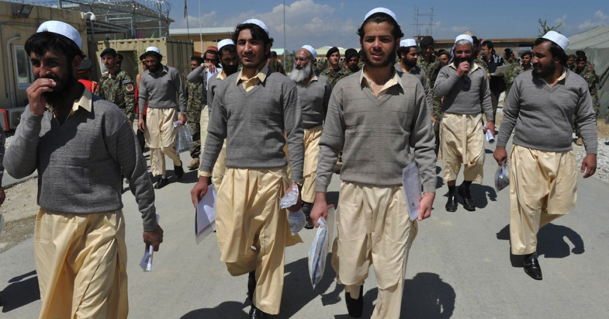 Newly-freed Afghan prisoners walks after a ceremony handing over the Bagram prison to Afghan authorities, at the US airbase in Bagram north of Kabul on September 10, 2012. The US on September 10 formally handed control to Afghanistan of more than 3,000 detainees at a controversial prison dubbed the country's 'Guantanamo Bay', but disagreements remain over the fate of hundreds of inmates. Kabul has hailed the transfer of Bagram prison as a victory for sovereignty as NATO prepares to hand over full national security to Afghans and withdraw its combat troops by the end of 2014.</p>