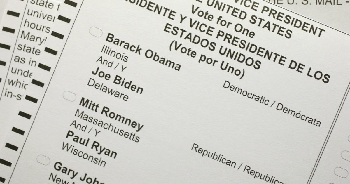 A US citizen's 2012 United States presidential election absentee ballot in Berlin, Germany.</p>