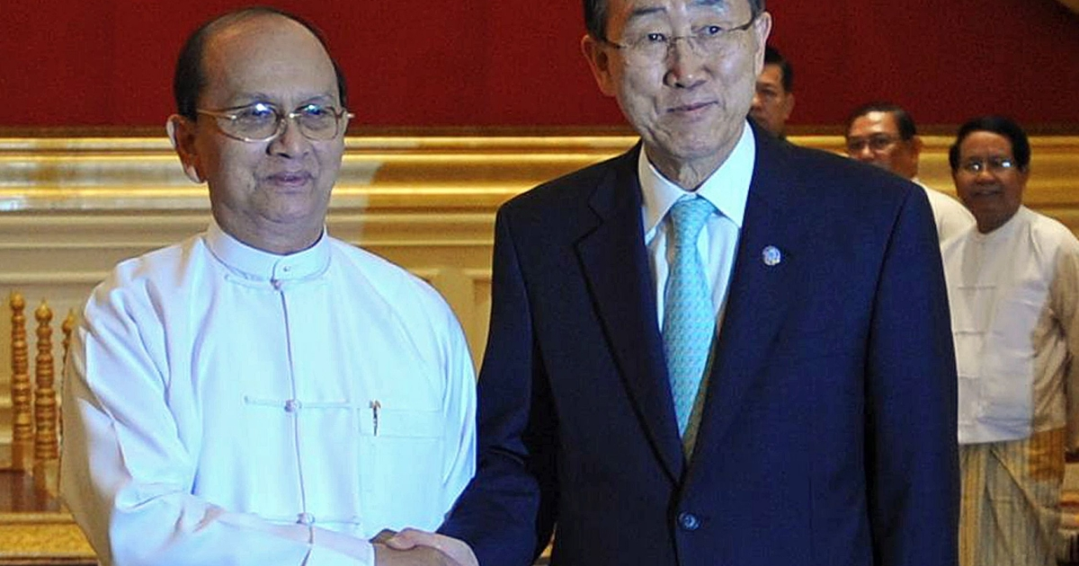 "On Sunday UN Secretary-General Ban Ki-moon (R) described President Thein Sein, a former top general, as a ""key driver"" of reforms in Myanmar, and called on western powers to further relax sanctions on the country ""so it doesn't slide back down the scale.""</p>"