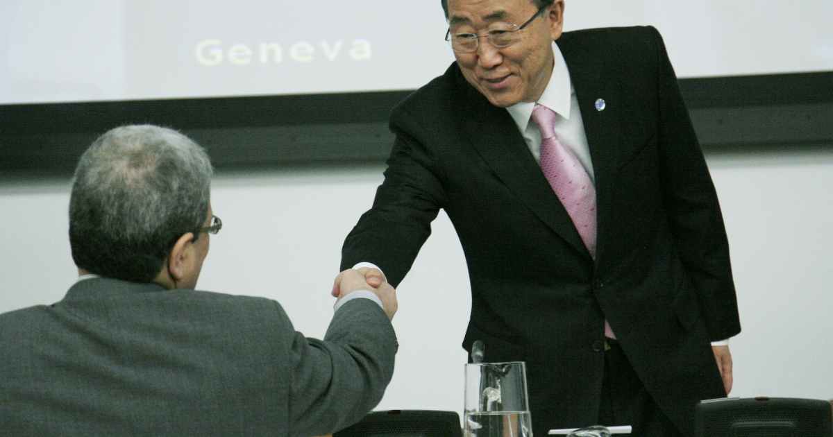 Ban Ki-moon, right, greets a delegate before the start of a UN General Assembly meeting on Thursday where a briefing was to take place on the situation in Syria.</p>