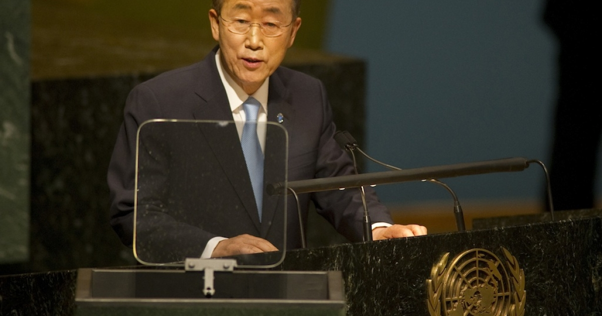 UN Secretary General Ban Ki-moon speaks after taking his oath of office for his appointment as the Secretary-General of the United Nations June 21, 2011, at the United Nations in New York.</p>