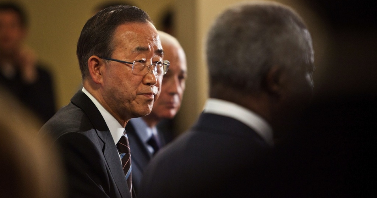 United Nations (UN) Secretary General Ban Ki-Moon speaks during a news conference after the UN Security Council held consultations regarding the UN Supervision Mission in Syria on June 7, 2012 at the United Nations Headquarters in New York City.</p>