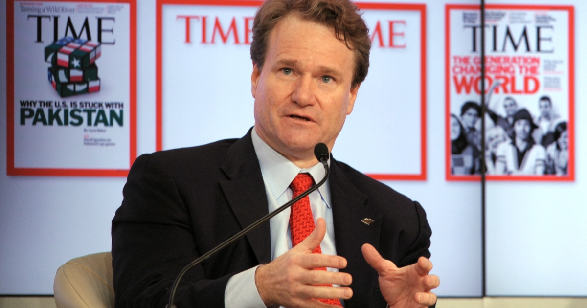 Bank of America chief executive officer Brian Moynihan during a debate at the World Economic Forum in the Swiss resort of Davos on Jan. 25, 2012.</p>