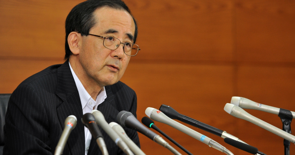 Bank of Japan (BOJ) Governor Masaaki Shirakawa speaks before press at the bank headquarters in Tokyo on September 19, 2012. The (BOJ) said it will extend its asset-purchasing scheme by 10 trillion yen (128 billion USD) to boost the economy, following similar moves by the European and US central banks.</p>