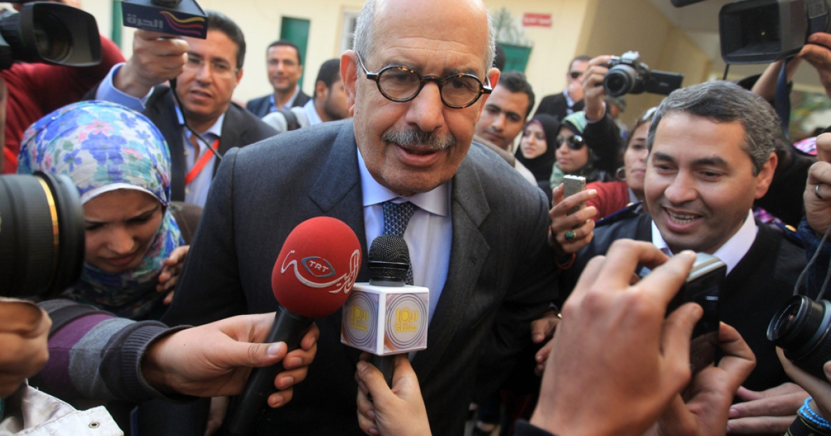 Mohamed ElBaradei, Nobel laureate, withdrew from Egypt's upcoming presidential race, siting undemocratic measures taken by the country's ruling generals. Egypt's military announced Sunday that nominations for the race would open mid-April.</p>