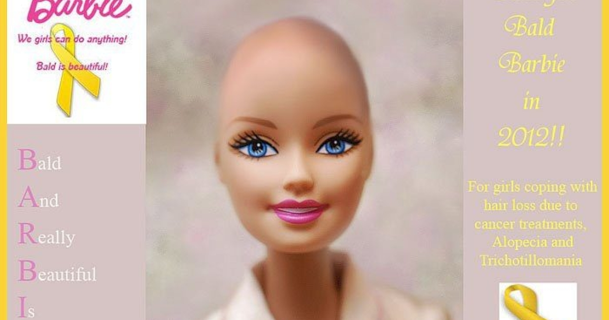 An image created by Facebook users shows what a Barbie undergoing cancer treatment could look like.</p>