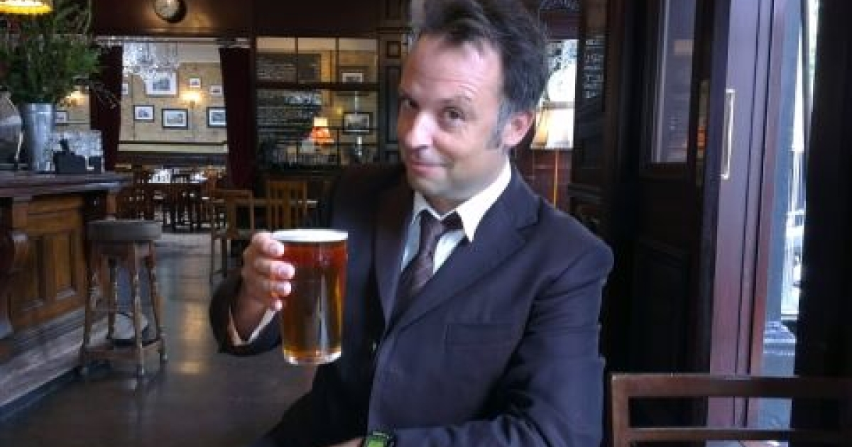 Barry Neild has a pint during his takeover of @GlobalPost's Twitter feed on Sept. 14, 2012.</p>