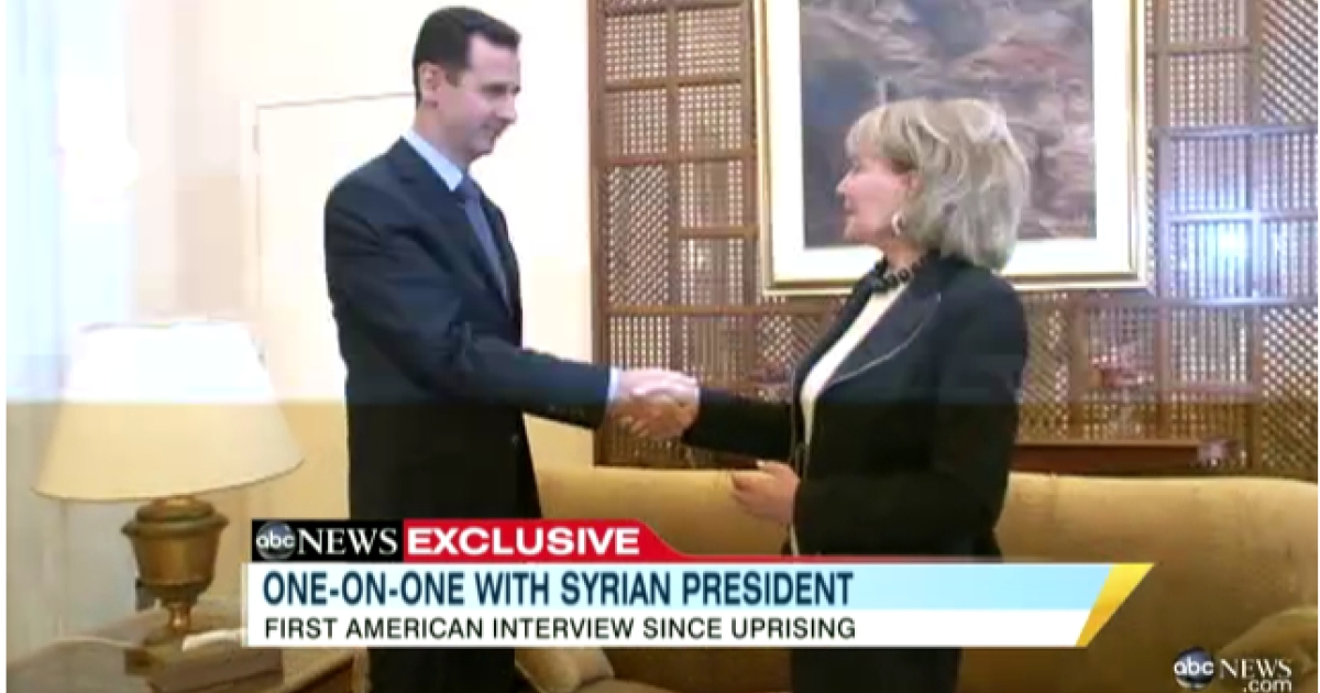 ABC's Barbara Walters interviews Syrian president Bashar al-Assad, in footage shown on December 6, 2011.</p>