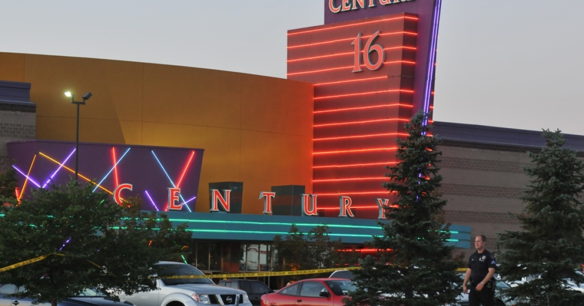 The Century 16 movie theater is seen where a gunmen attacked movie goers during an early morning screening of the new Batman movie,