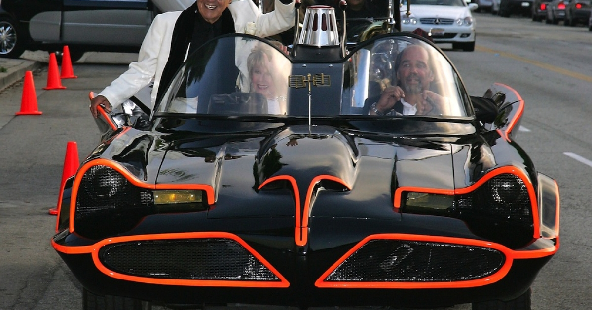 Hollywood car creator George Barris arrives in the TV Batmobile for the Friars of Beverly Hills celebrity fundraiser dinner gala presenting their Life Achievement Award to Barris at the Friars of Beverly Hills on June 17, 2006 in Beverly Hills, California.</p>