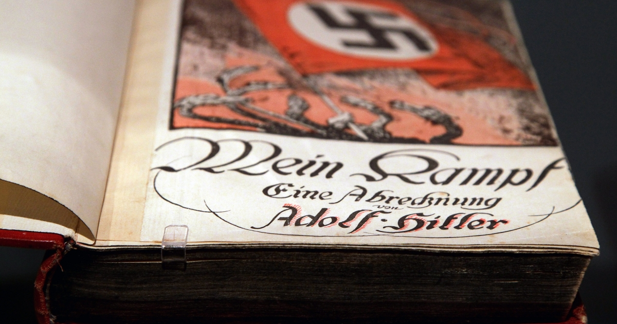 "The book Mein Kampf, or ""My Struggle,"" by Adolf Hitler is pictured during a press preview of ""Hitler and the Germans Nation and Crime"" at the German Historical Museum in October, 2010 in Berlin.</p>"