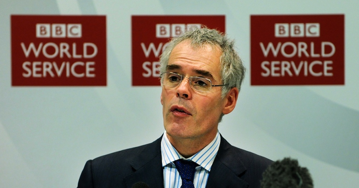 BBC Global News Director Peter Horrocks speaks during a press conference in central London, on January 26, 2011.</p>