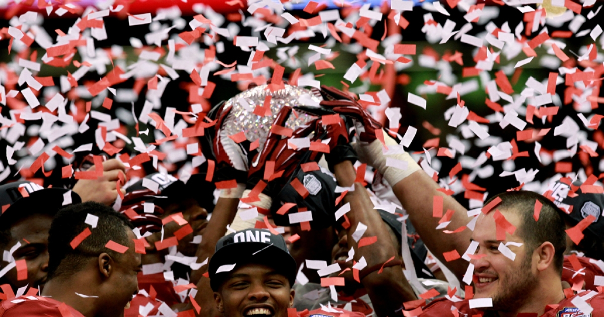 Marquis Maze (No. 4) and the Alabama Crimson Tide celebrate after defeating the LSU Tigers in the 2012 BCS national championship game at the Superdome on Jan. 9 in New Orleans. Alabama  won of 21-0.</p>