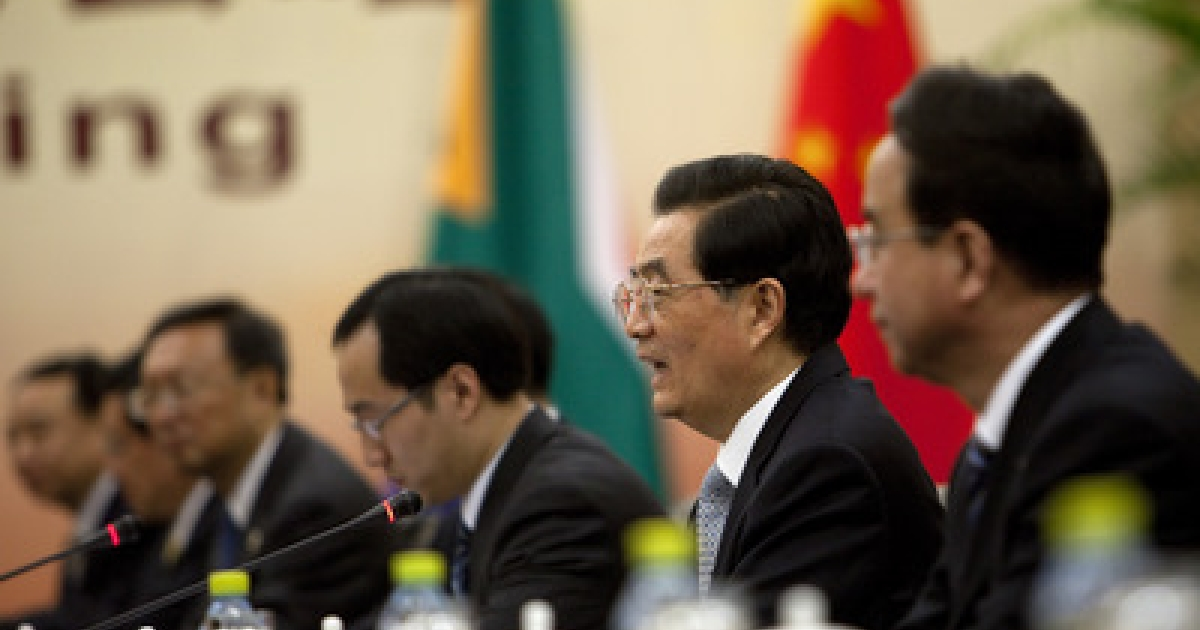 President of China Hu Jintao (2R) holds a bilateral meeting with President of South Africa Jacob Zuma April 13, 2011 in Sanya, Hainan province, China. Leaders from Brazil, Russia, India, China, and South Africa will meet on April 14 for the 2011 BRICS Summit.</p>