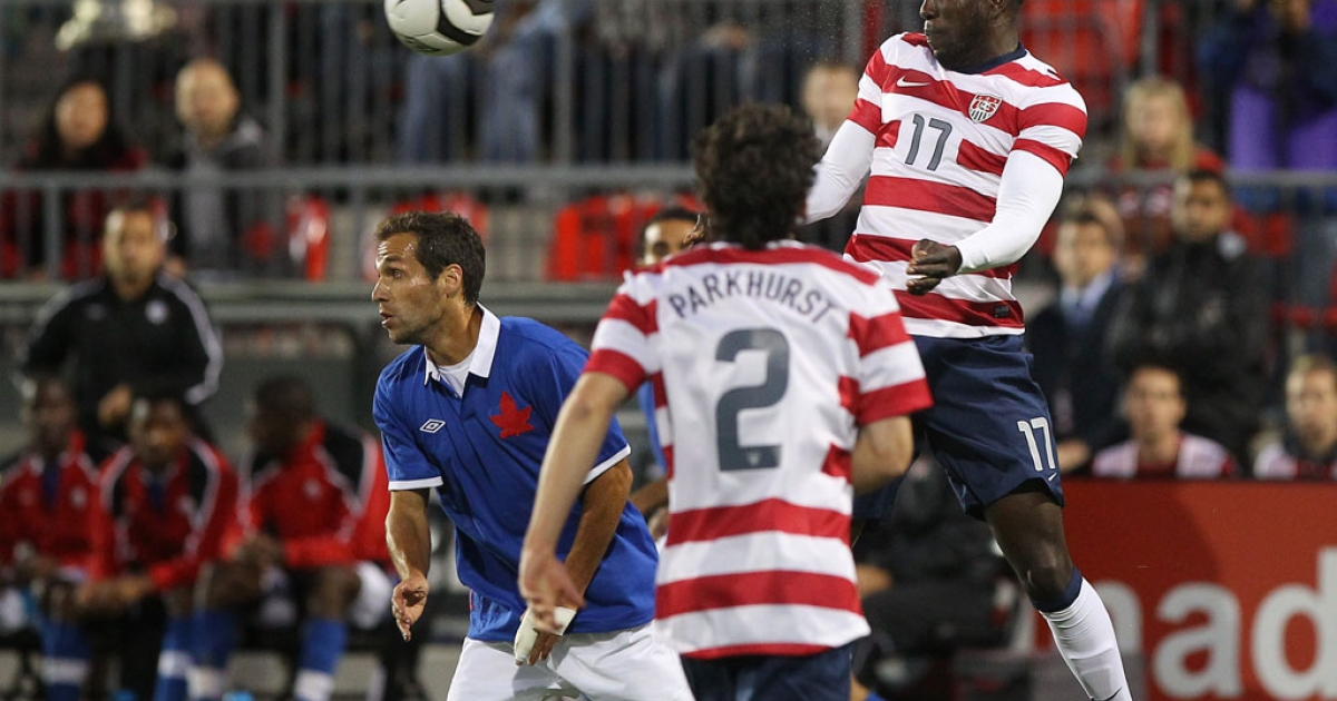 US soccer player Jozy Altidore heads the ball against Canada during their international friendly match on June 3, 2012 at BMO Field in Toronto, Ontario, Canada.</p>