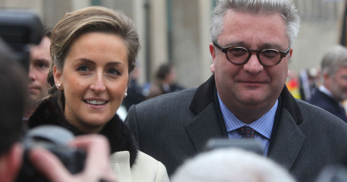 Princess Claire and Prince Laurent of Belgium pose for a photo near the Brussels' Cathedral on Nov. 15, 2010.</p>