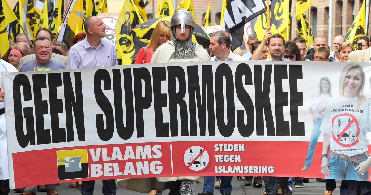 Belgians demonstrate against the construction of a mosque in Lier on June 5, 2011.</p>