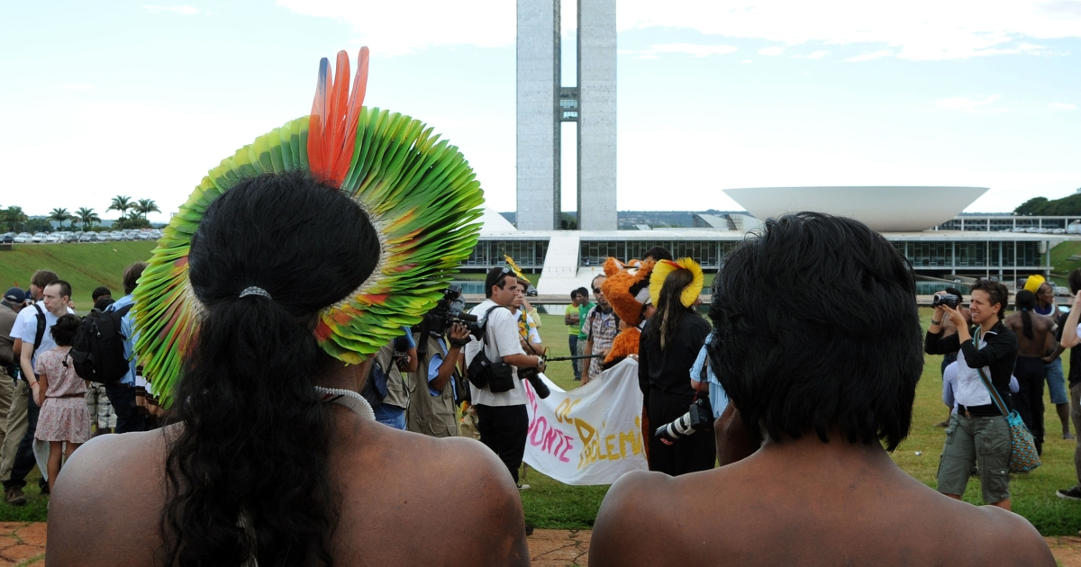 A Brazilian indigenous chief attends a February protest in Brasilia against the construction of the Belo Monte hydroelectric dam.</p>